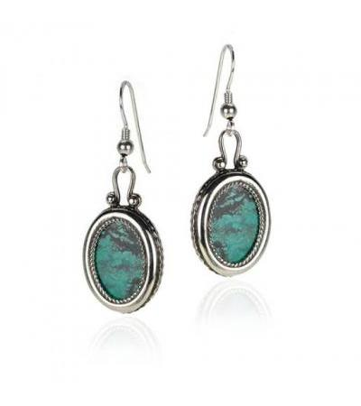 Sterling Silver Eilat Stone Round Earrings with Wide Twisted Frame